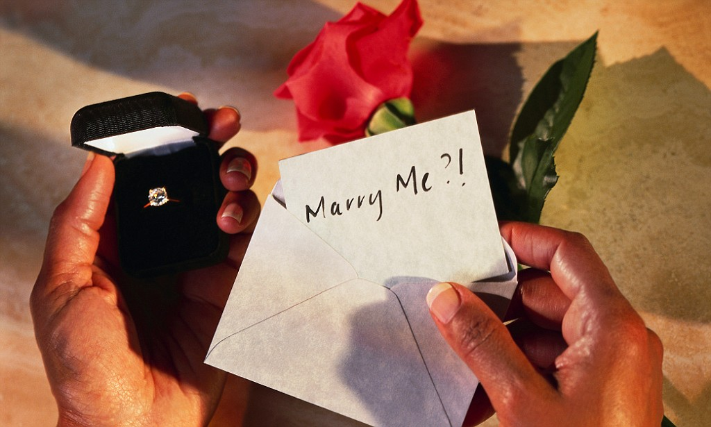 Hands Holding Box with Engagement Ring and Marry Me? Card --- Image by © Barry Gregg/Corbis